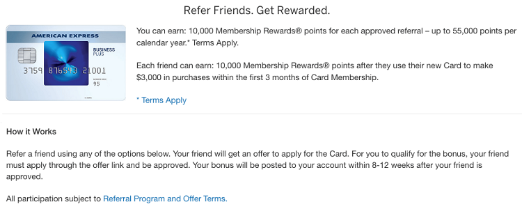 American Express Blue Business Plus Referral Bonus Earn