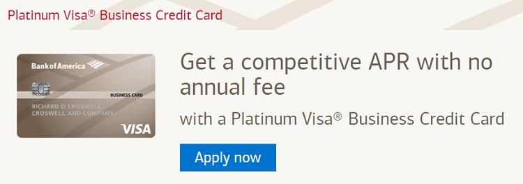 Bank Of America Platinum Visa Business Credit Card 200 Bonus