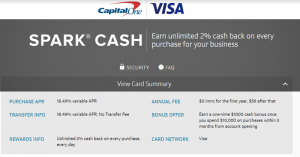 Capital One Spark Cash Visa For Business Card $1,000 Bonus + 2% Cash Back + No Annual Fee First Year [Targeted]