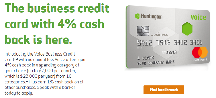 Huntington voice business credit card review earn 4 cash for Business credit cards with no annual fee