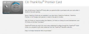 Citi ThankYou Premier Credit Card 60,000 Points Promotion + 3X Points on Travel