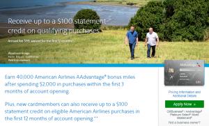 CitiBusiness AAdvantage Platinum Select World Mastercard 40,000 AAdvantage Miles Deal + $100 Statement Credit