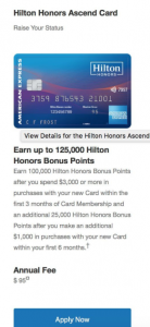 American Express Hilton Honors Ascend Card 125,000 Promotion Points + Up To 12X Points Back [YMMV]