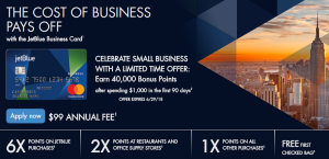 Barclay JetBlue Business Card 40,000 Bonus Points + 6X Points on JetBlue Purchases