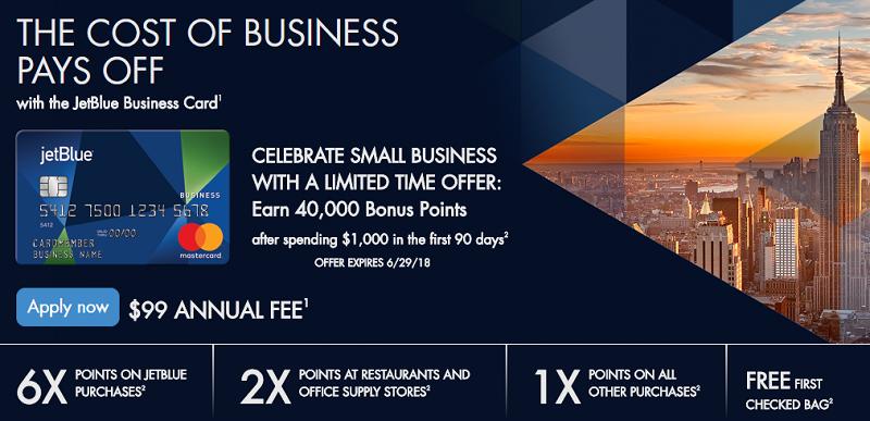 Barclay jetblue business card 40000 bonus points 6x for Barclay business card
