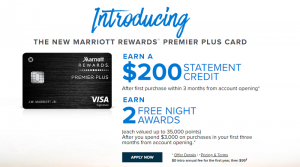 Chase Marriott Rewards Premier Plus + $200 Statement Credit + 2 Free Nights + First Year Annual Fee Waived