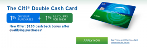Citi Double Cash Card $150 Bonus + 2X Cash Back on Every Purchase