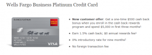 Wells Fargo Business Platinum Credit Card $500 Bonus + $1.50% Cash Back + No Annual Fee