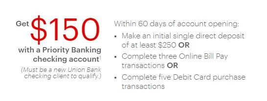$150 Union Bank Bonus