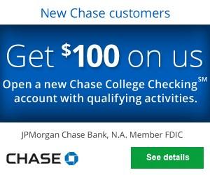 Chase $100 College Checking Bonus Coupon