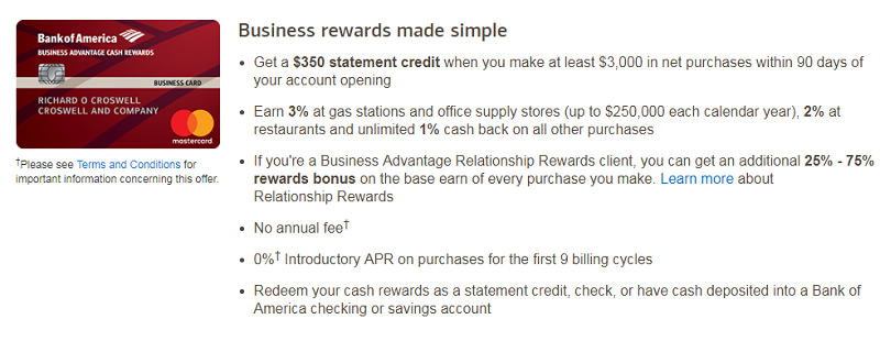 Bank of america business advantage cash rewards mastercard 350 at a glance with the bank of america business advantage cash rewards mastercard you will earn a 350 statement credit after you spend 3000 in purchases colourmoves
