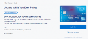 Hilton Honors Card from American Express 100,000 Hilton Honors Bonus Points + No Annual Fee (Targeted)