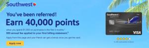 Southwest Rapid Rewards Plus Referral Bonus: 40,000 Bonus Points