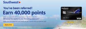 Southwest Rapid Rewards Premier Referral Bonus: 40,000 Bonus Points