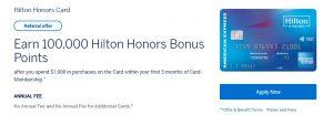 Amex Hilton Honors Referral Bonus: 100,000 Bonus Points