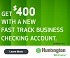 Huntington Fast Track Business Checking Bonus