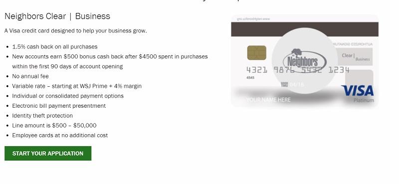 Neighbors Federal Credit Union Business Visa Platinum Card