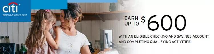 $200, $400 & $600 Citi Personal Checking/Savings Promotion