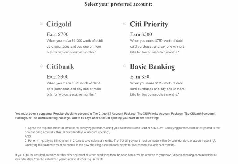 Citi $700 Checking Promotion