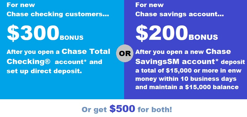 coupon chase bank checking account
